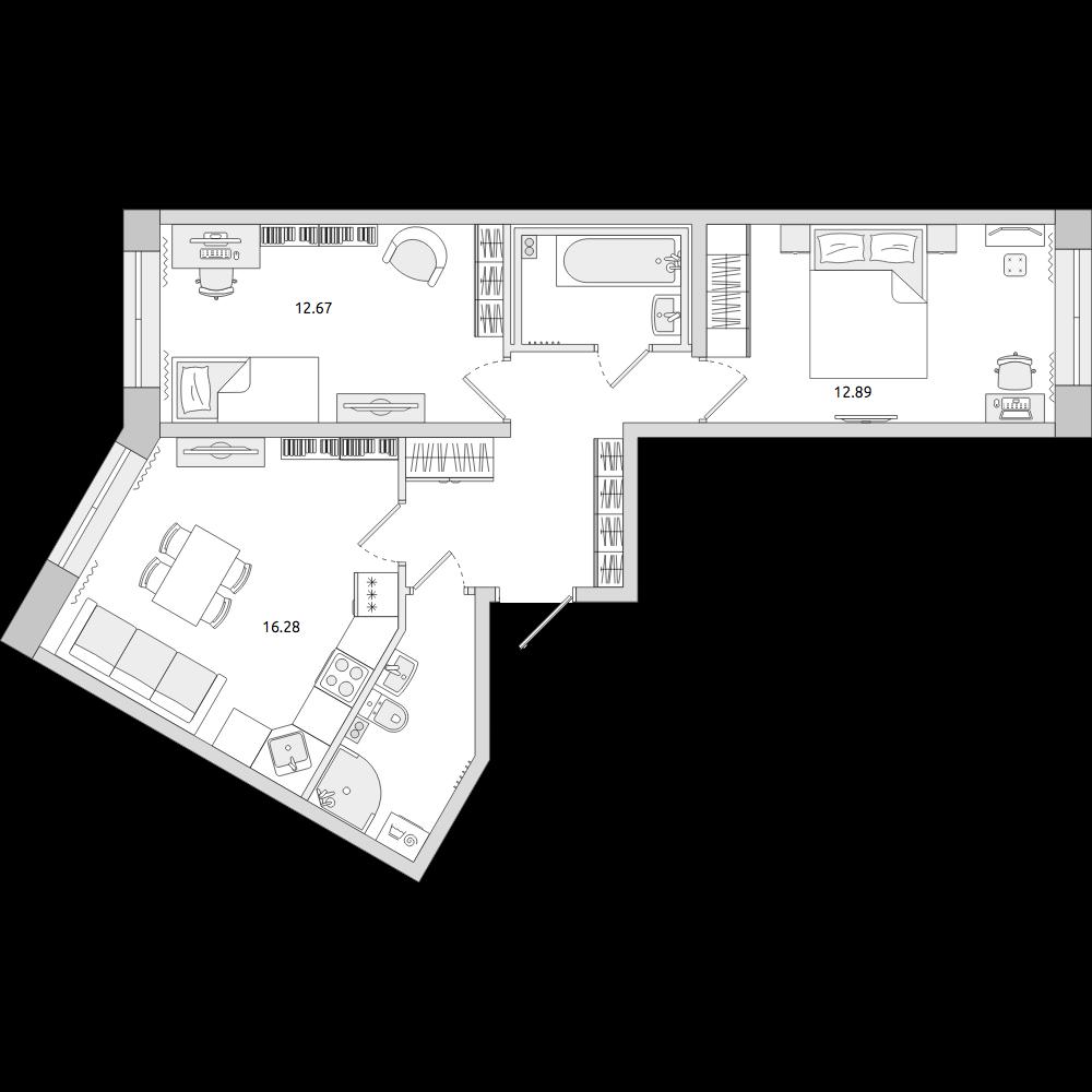 Планировка Трёхкомнатная квартира площадью 58.77 кв.м в ЖК «ЦДС «Муринский Посад»»