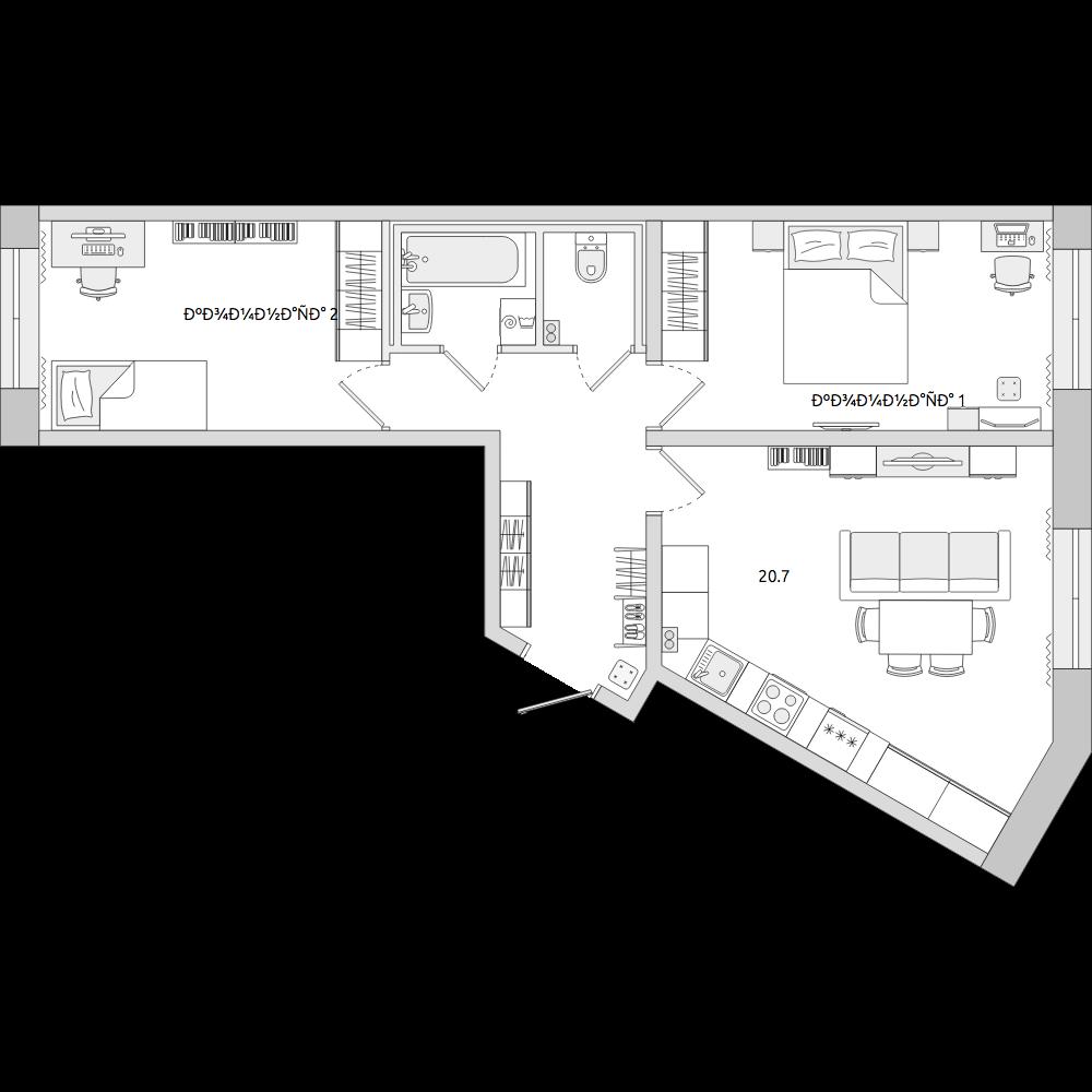 Планировка Трёхкомнатная квартира площадью 60.41 кв.м в ЖК «ЦДС «Муринский Посад»»