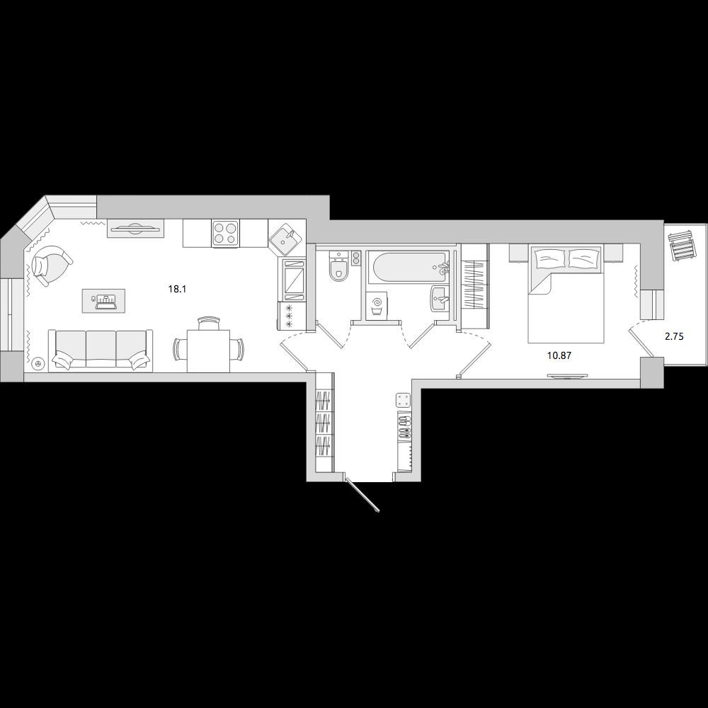 Планировка Двухкомнатная квартира площадью 43.53 кв.м в ЖК «ЦДС «Муринский Посад»»