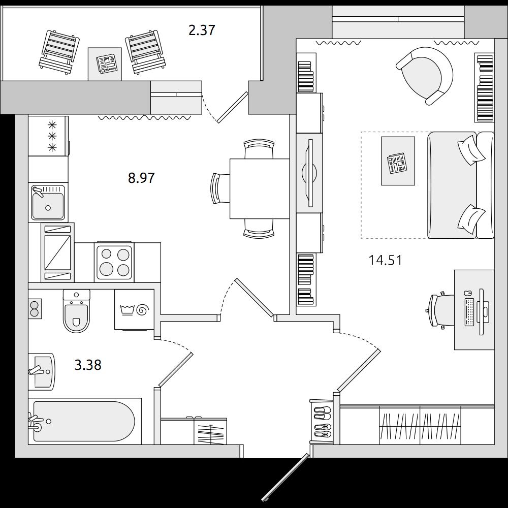 Планировка Однокомнатная квартира площадью 32.2 кв.м в ЖК «ЦДС «Муринский Посад»»