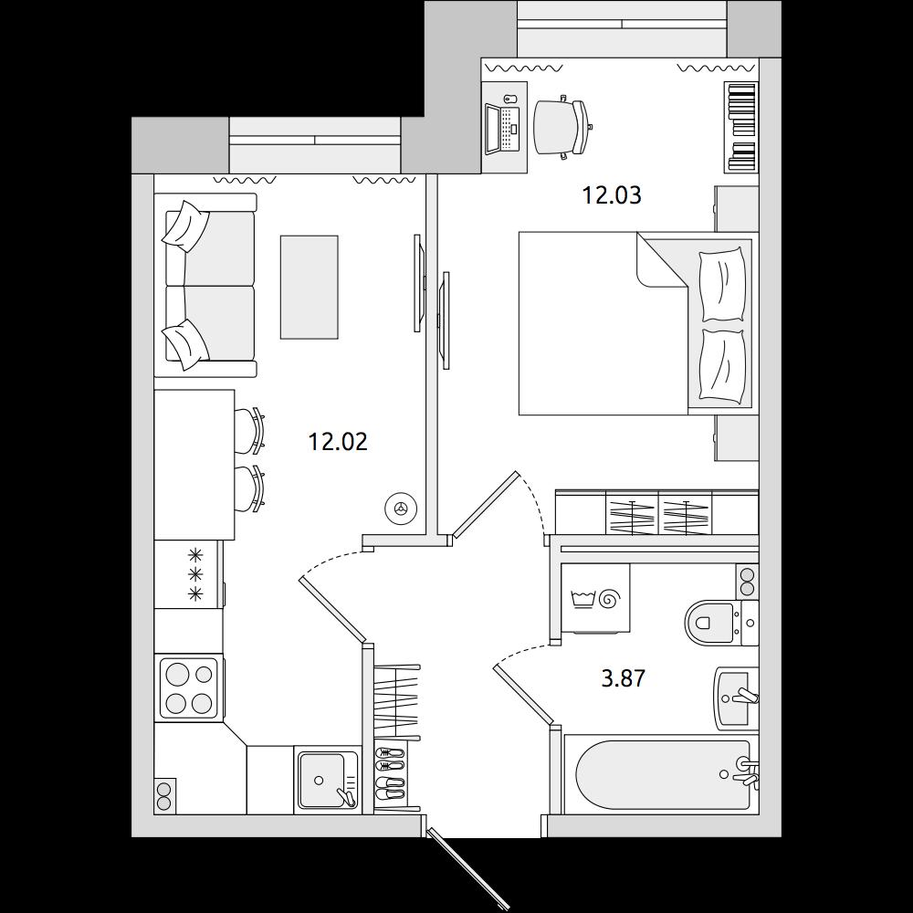Планировка Однокомнатная квартира площадью 31.47 кв.м в ЖК «ЦДС «Муринский Посад»»