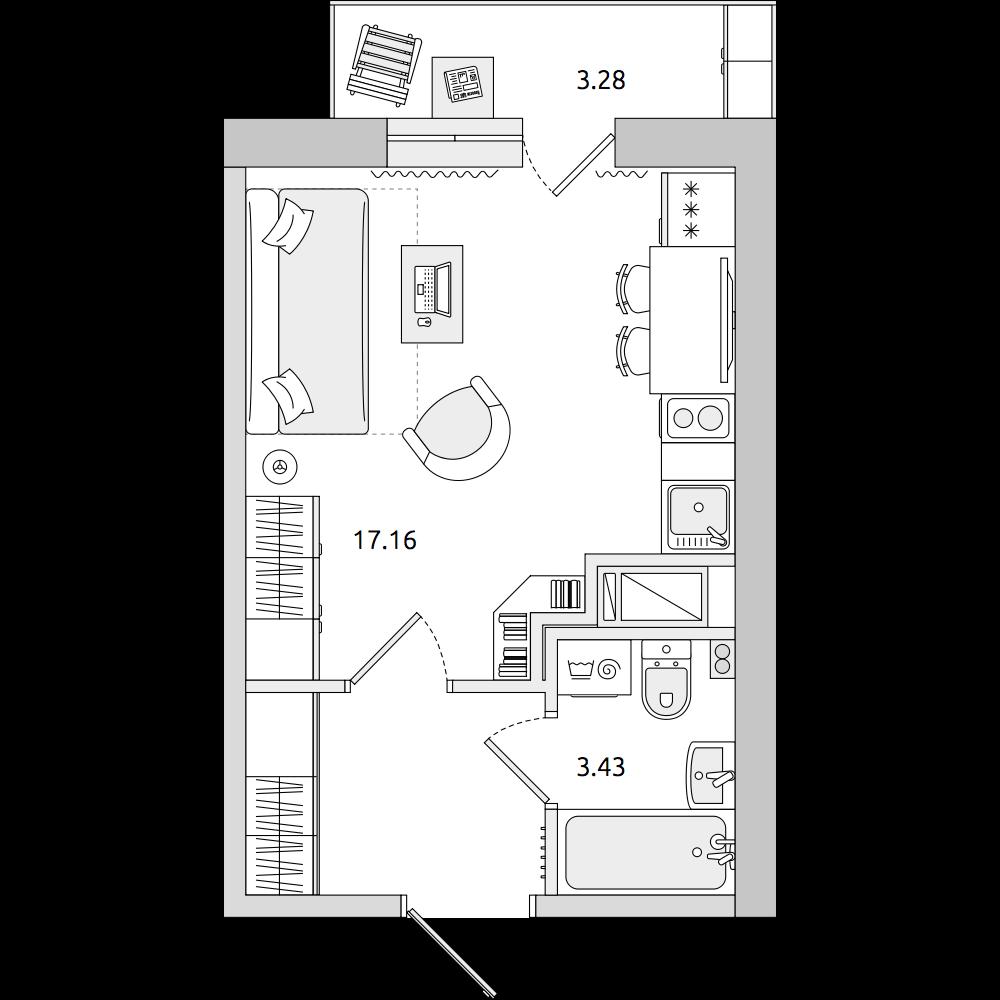 Планировка Студия площадью 28.38 кв.м в ЖК «ЦДС «Муринский Посад»»