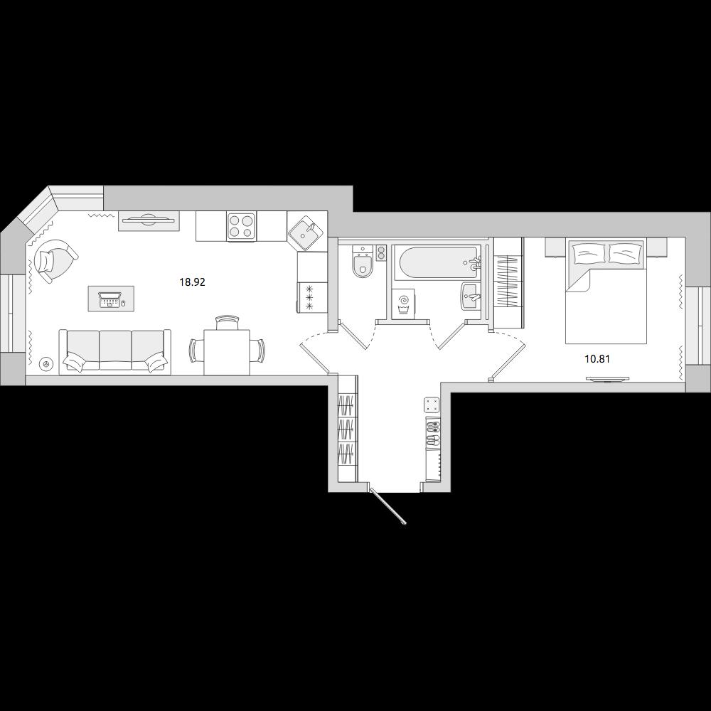 Планировка Двухкомнатная квартира площадью 41.38 кв.м в ЖК «ЦДС «Муринский Посад»»