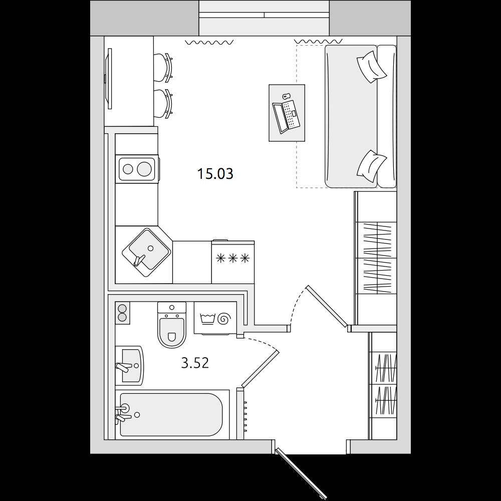 Планировка Студия площадью 21.9 кв.м в ЖК «ЦДС «Муринский Посад»»