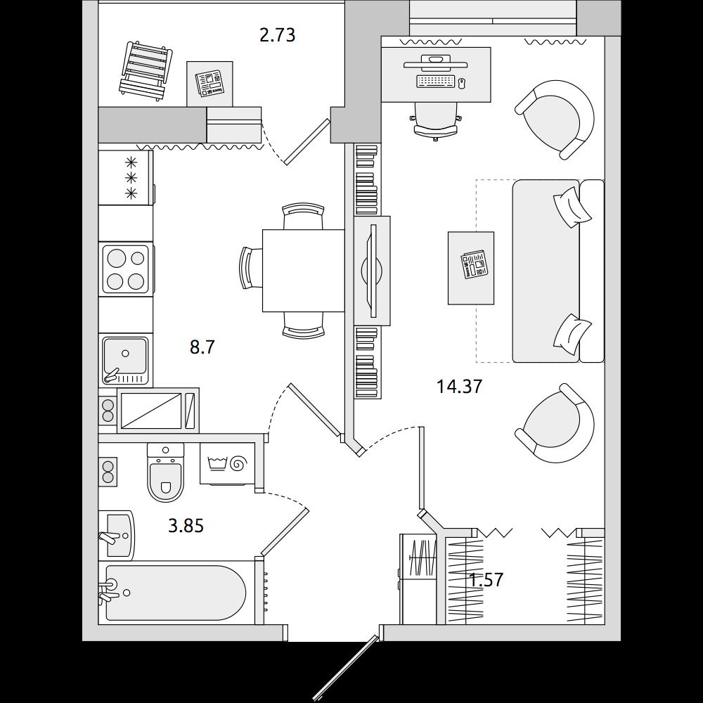 Планировка Однокомнатная квартира площадью 34.73 кв.м в ЖК «ЦДС «Муринский Посад»»