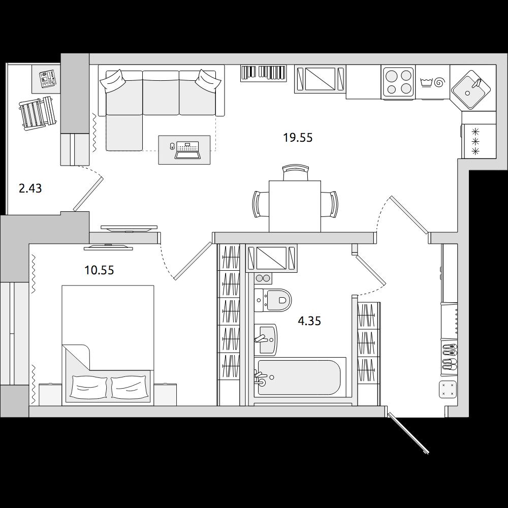 Планировка Двухкомнатная квартира площадью 41.81 кв.м в ЖК «ЦДС «Муринский Посад»»