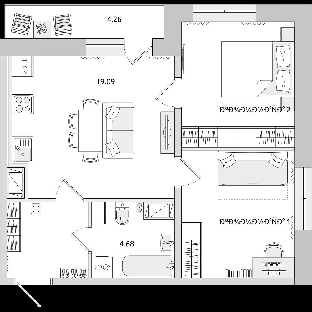 Планировка Трёхкомнатная квартира площадью 57.51 кв.м в ЖК «ЦДС «Муринский Посад»»