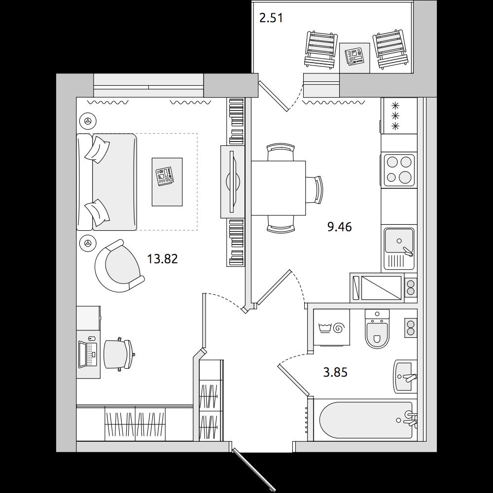 Планировка Однокомнатная квартира площадью 33.35 кв.м в ЖК «ЦДС «Муринский Посад»»