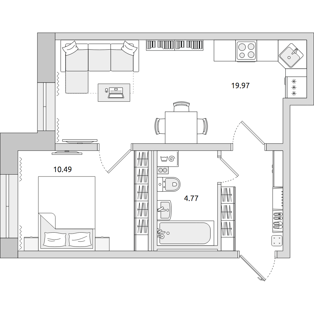 Планировка Двухкомнатная квартира площадью 40.16 кв.м в ЖК «ЦДС «Муринский Посад»»